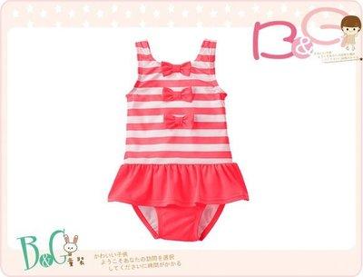 【B& G童裝】正品美國進口GYMBOREE Striped 蝴蝶結條紋裙襬型連身泳裝3yrs(UPF50+)