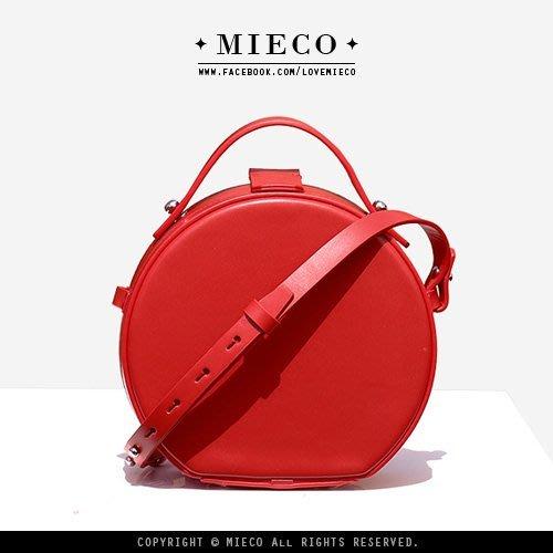 【Mieco】真皮訂製 設計師款 頭層滑面牛皮 法式簡約提把迷你紅色小圓包。紅/棕/檸檬黃/黑色