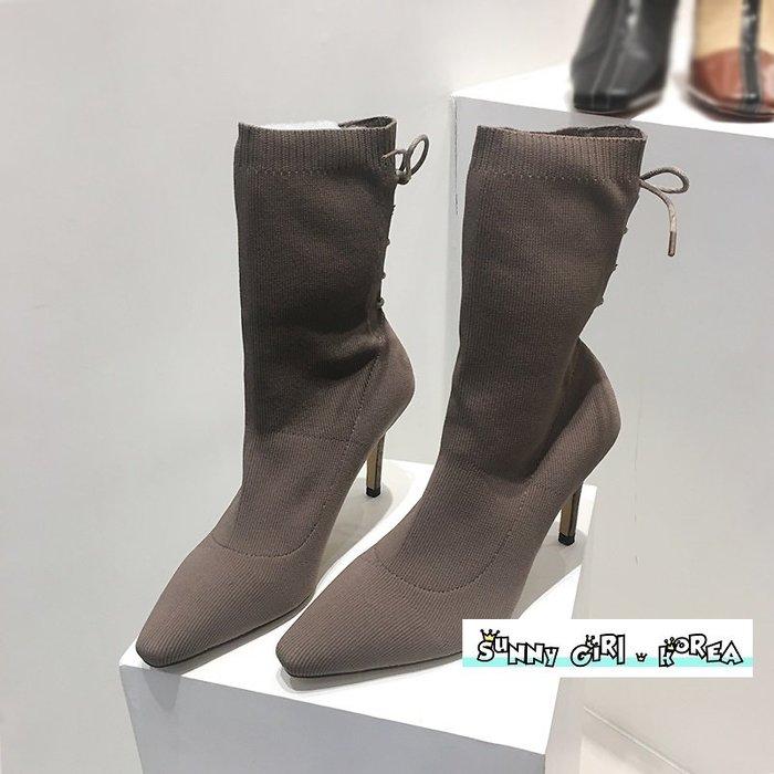 正韓襪靴*Sunny Girl*韓國代購細跟尖頭顯瘦後綁帶馬丁靴 2019十二月新款 - [WH1420]