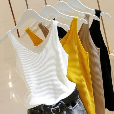 V領針織背心韓版夏季 新款百搭內搭外穿無袖上衣 —莎芭