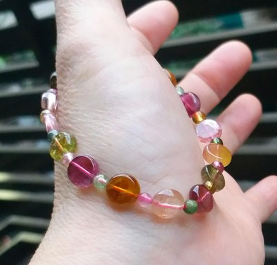 嗨,寶貝銀飾珠寶* 寶石飾品☆純天然電氣石碧璽寶石 色澤透亮 顏色鮮豔 簡約圓扁珠手環 手鍊
