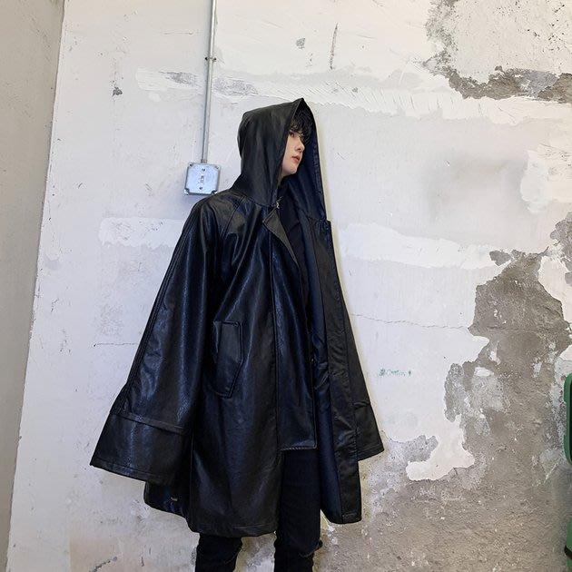 FINDSENSE 2019 秋冬上新 G19  先鋒黑色廓形潮流寬鬆連帽皮風衣男裝百搭寬鬆休閒外套