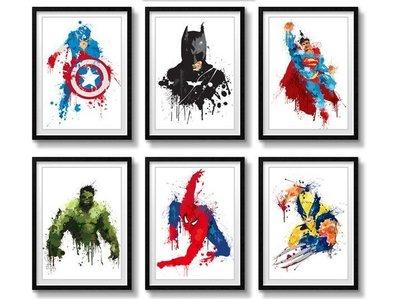 C - R - A - Z - Y - T - O - W - N 蝙蝠俠 超人 掛畫 有框 電影 設計 MARVEL