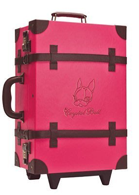 【Crystal Ball 狗頭包】狗頭登機行李箱/復古行李箱(20吋)桃紅色