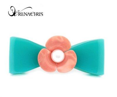 BHI1141-法國品牌RenaChris 漂亮珍珠山茶花蝴蝶結髮夾 彈簧夾【韓國製】