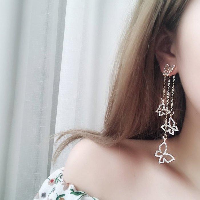 滿鉆蝴蝶不對稱耳環韓國氣質女時尚百搭潮人耳飾品