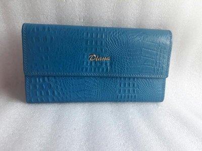 紫庭雜貨* 長皮夾 全新 黛安娜 Diana 皮夾 長夾 3層土耳其藍 鱷魚紋  展示夾 多卡多夾層 特價出清