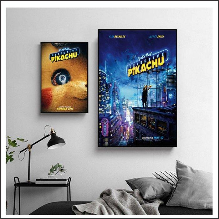 日本製畫布 電影海報 Detective Pikachu 名偵探皮卡丘 掛畫 裝飾 @Movie PoP 賣場多款海報~