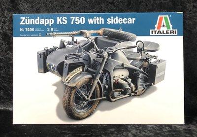 《GTS》免運中Italeri 1/9第二次世界大戰德國陸軍Zundapp KS750 Sidecar軍用車NO7406