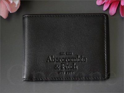全新官網 Abercrombie & Fitch A&F AF麋鹿真皮黑色ID證件男夾中夾短夾皮夾 愛Coach包包