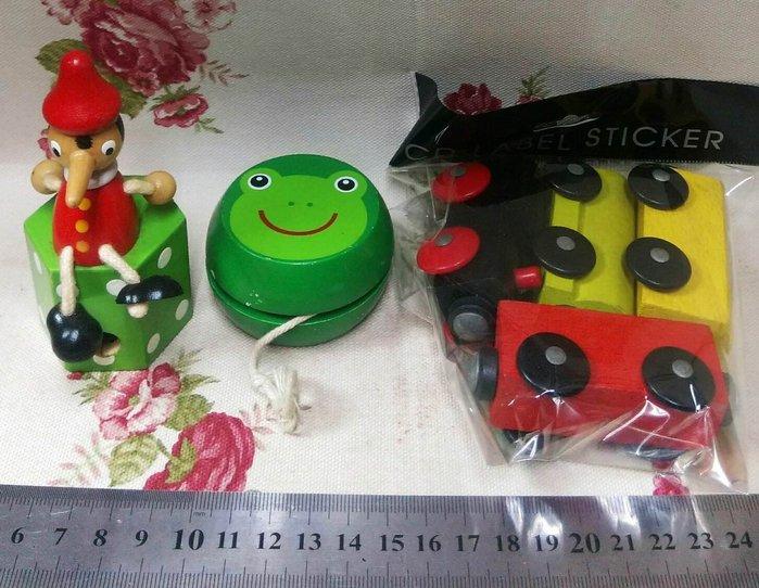 龍廬-自藏2手出清~創意手工彩繪木質製品小丑削筆器&磁吸小火車&青蛙YOYO球/3樣一起賣不拆賣
