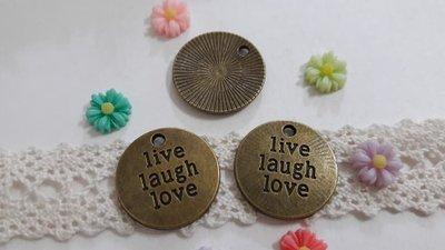 【小芒果】手作材料/古銅色合金配件 - live laugh love掛牌/19mm/一份3個12元(MA424)