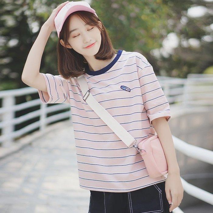 夏季女裝短袖T恤 汀威夏季新款韓版寬松拼接撞色圓領彩色條紋t恤女短袖上衣潮