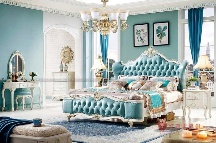 [紅蘋果傢俱] 1803 新古典系列 歐式床 雙人床架 全實木框架 真皮靠背 數千坪展示