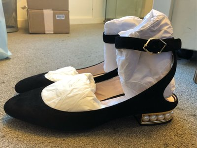 特價出清NICHOLAS KIRKWOOD Lola pearl-heeled 絨面珍珠芭蕾舞鞋