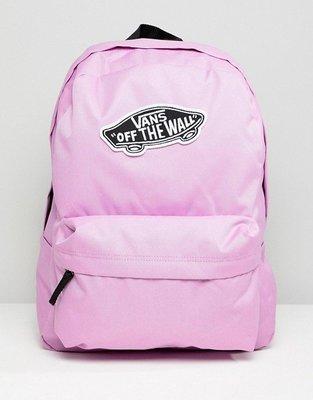 現貨 國外代購 正品 Vans REALM BACKPACK 桃紫色 配黑色 滑板圖案 經典款後背包 書包 學生