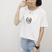 =EF依芙=韓國首爾 時尚精品 東大門同步 夏季新款韓版胖mm時尚考拉繡花圓領短袖T恤 大碼女裝17826
