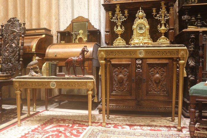 【家與收藏】稀有珍藏歐洲百年古董法國華麗彩瓷手工木刻雕花大理石玄關桌/邊桌 4