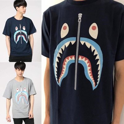 [FDOF] BAPE 灰色藍牙齒 深藍鯊魚短tee   日本公司貨
