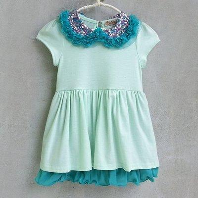 【韓國空運正韓童裝】正韓--亮片閃閃圓領洋裝-粉藍
