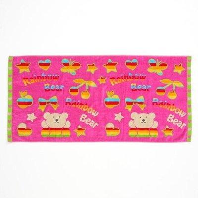 尼德斯Nydus~* 日本正版 彩虹熊 Rainbow Bear 浴巾 大毛巾 桃紅款 120cm 100%純棉-日本製