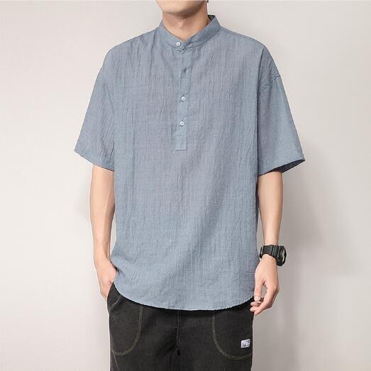FINDSENSE X  男士 薄款 短袖 襯衫 夏季男純色 棉麻上衣情侶襯衣 襯衫