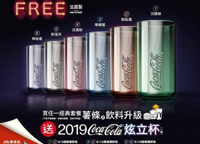 現貨專區∼2019年麥當勞 【McDonalds】COCA COLA 可口可樂 炫立杯一套6款 (只能郵寄)