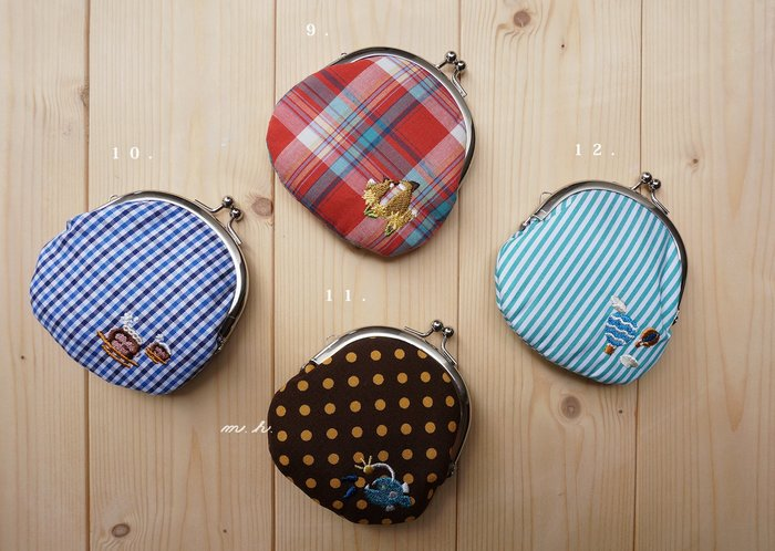 京都 NIPPON CHACHACHA 日本製 可愛 點點 條紋 格紋 刺繡 珠扣 口金 零錢 包 置物 包