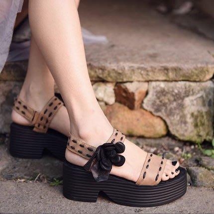 *菇涼家*原创夏新款复古花朵厚底凉鞋女牛皮防水台高跟松糕女鞋