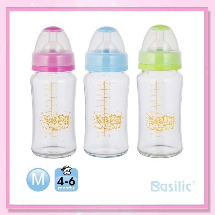 <益嬰房>貝喜力克 寬口徑 防脹氣高耐熱玻璃奶瓶240ml(D257) 1支入