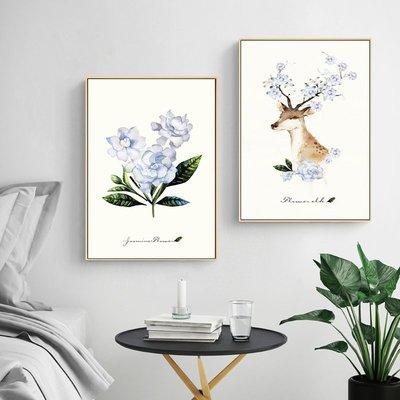 北歐現代小清新羽毛麋鹿客廳臥室裝飾畫畫芯高清微噴(3款可選)