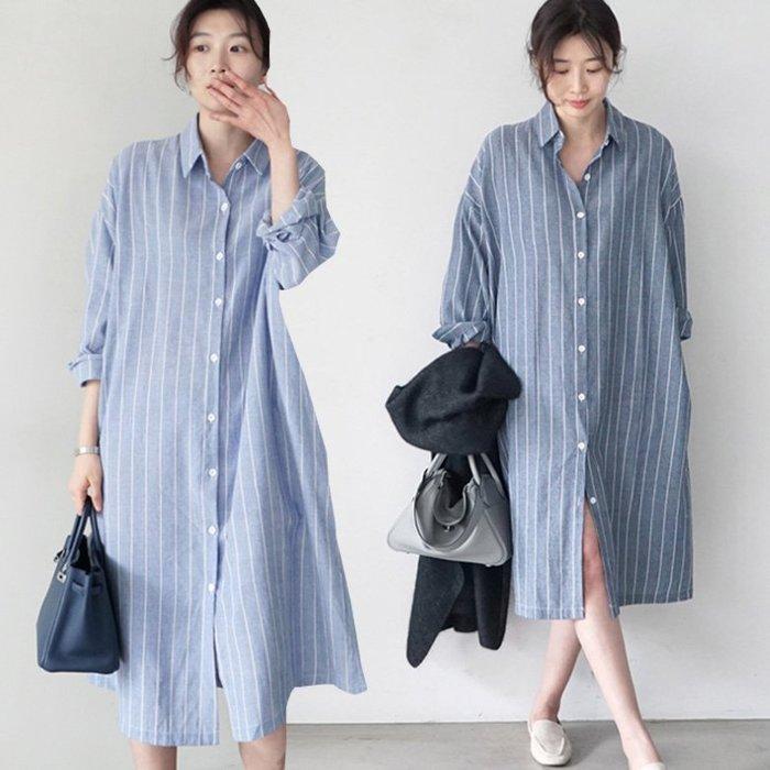 長袖襯衫  韓系 條紋襯衫式連身裙S~2XL 艾爾莎 【TGK7809】