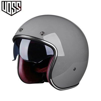 折扣中VOSS復古頭盔男女半盔機車安全帽半覆式踏板摩電動車托3/4盔四季