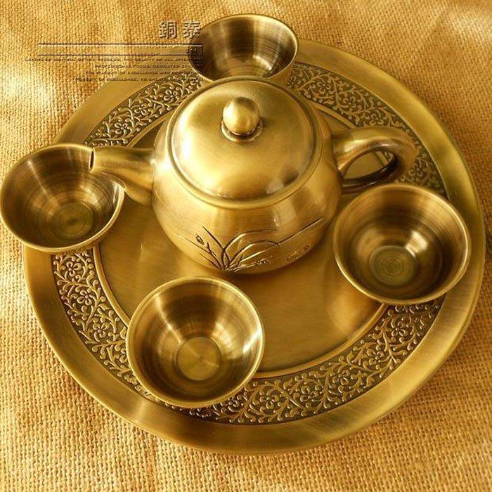 5Cgo【茗道】含稅會員有優惠 42787806606 銅茶壺茶杯茶盤整套4人配茶盤青銅茶壺銅茶壺黃銅壺泡茶功夫茶海茶具