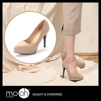 防水台高跟鞋 尖頭素面前高後高細跟高跟鞋 裸色 mo.oh(韓國鞋款)