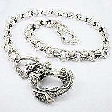 銀革手作 925 純銀  菱格圓圈鏈 騎士扣 褲鏈