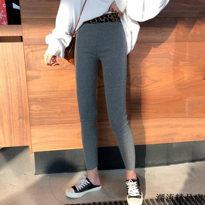 豹紋拼接高腰彈力打底褲女春季新款韓版百搭修身顯瘦小腳鉛筆長褲