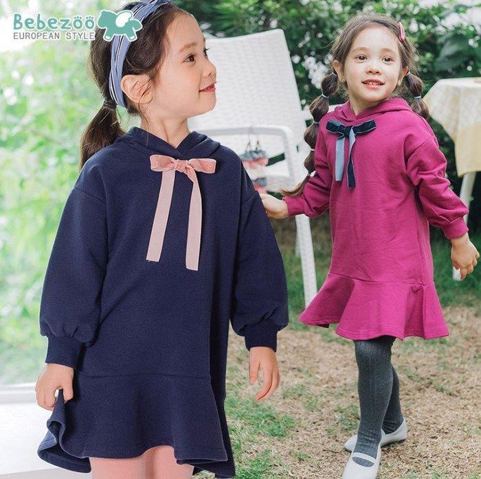 【睫衣童裝】現貨~韓國正品bebezoo荷葉邊純色洋裝/連帽洋裝/藍色  粉色(90~130)