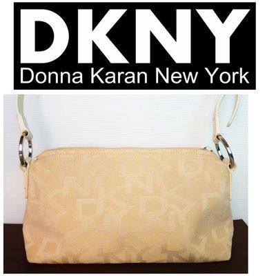 DKNY 緹花Logo 皮革 側背包  肩背包 手拿包 腋下包 手提包 小方包 真品$129 1元起標 有LV