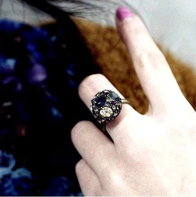 {Korinne's Shop} 滿400免運(7-11純取貨) 復古彩鑽圓形 戒指