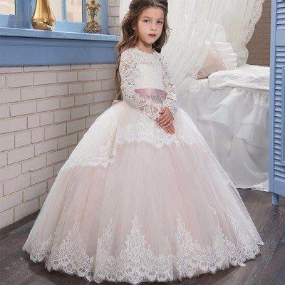 【衣Qbaby】女童音樂會鋼琴演奏花童生日宴會蕾絲公主長禮服
