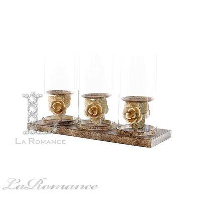 【芮洛蔓 La Romance】 Mindy Brownes - L色系列立體玫瑰雕花三燭台