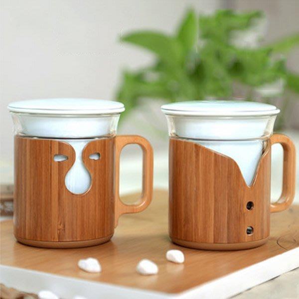 5Cgo【茗道】含稅會員有優惠 44947835166 功夫茶具辦公室玻璃杯竹制陶瓷花茶杯帶蓋三件杯創意泡茶杯喝水杯