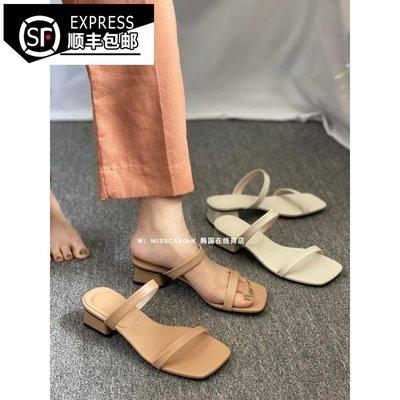 韓國時尚女鞋舘HaloChic2021韓國|我喜歡的復古色小方跟一字帶顯瘦簡約氣質涼鞋