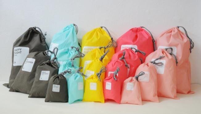 【現貨】糖果色束口袋防水旅行四件套包