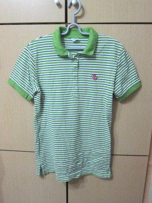 衣市藍~Champion 短袖POLO衫 (L~白綠黑橫條~七成新~) (200409) 桃園市