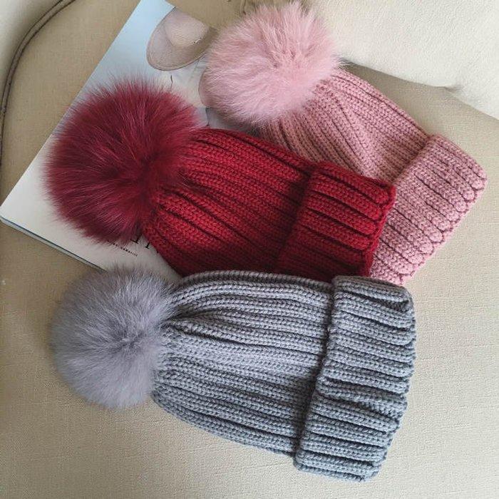 超大狐狸毛球帽 女 冬天毛線帽子 保暖皮草 球球針織帽 日本毛線毛球帽