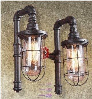「一燈」loft美式田陽臺壁燈復古工業餐廳酒吧鐵藝工程裝飾水管壁燈y_d*3011
