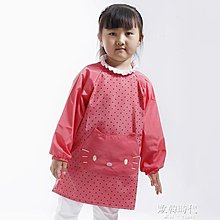 兒童罩衣小貓咪微防水罩衣韓版反穿衣長袖圍裙吃飯衣畫畫衣服 一件免運
