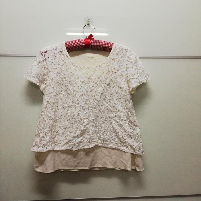 日本帶回燒花兩層蕾絲上衣M